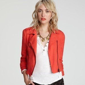 Free People Cropped Linen Moto Jacket